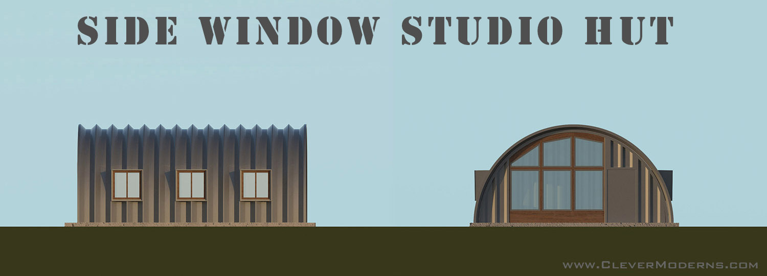 "graphic of a small Quonset hut home with words ""Side Window Studio Hut"""