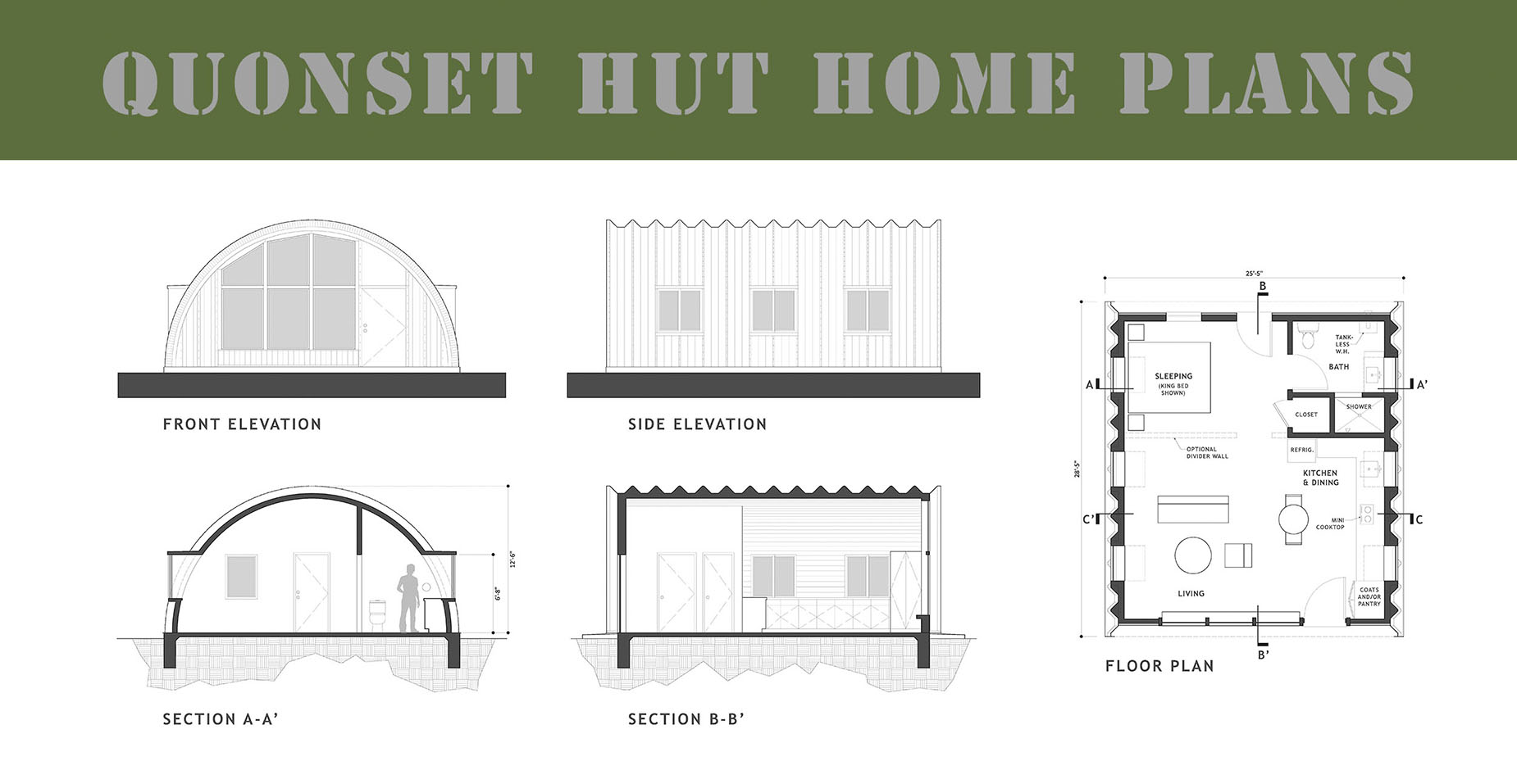 "Graphic image of Quonset hut drawings with title ""Quonset Hut Home Plans""."